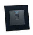 illucio Black Designer 1 Gang Telephone Socket in Black